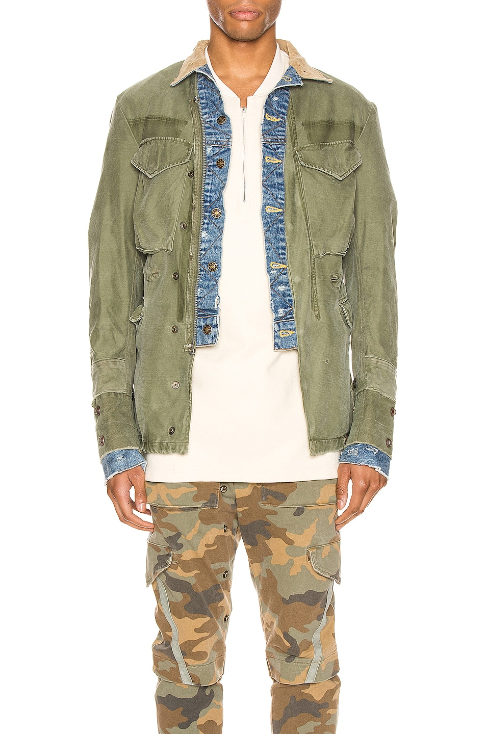Image 1 of Greg Lauren Trucker Front Ollie Jacket in Army