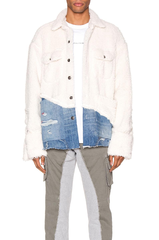 Image 1 of Greg Lauren 50/50 Sherpa Denim Studio Jacket in Ivory