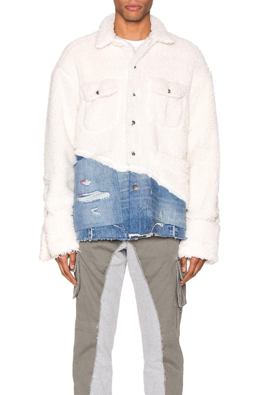 Image 2 of Greg Lauren 50/50 Sherpa Denim Studio Jacket in Ivory