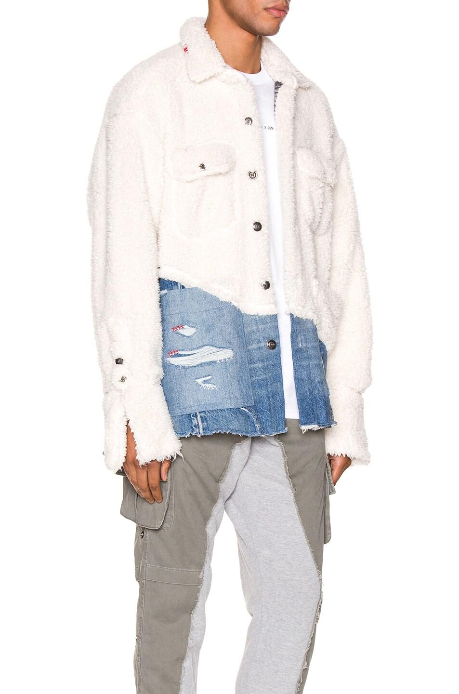 Image 3 of Greg Lauren 50/50 Sherpa Denim Studio Jacket in Ivory