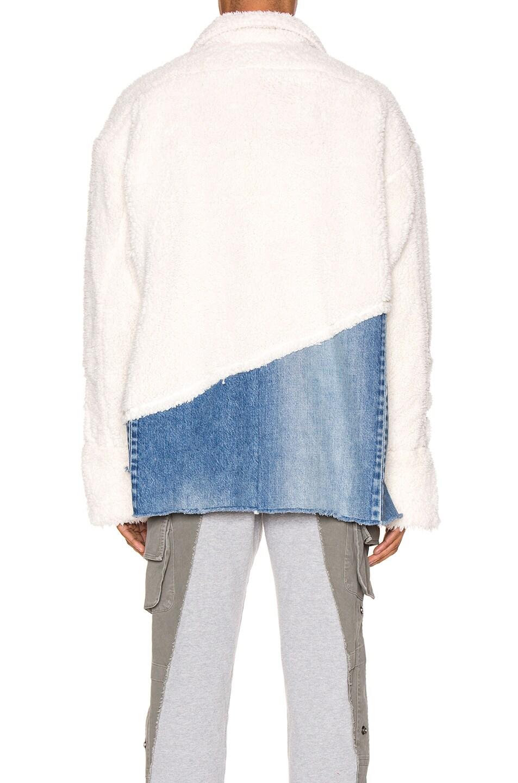 Image 4 of Greg Lauren 50/50 Sherpa Denim Studio Jacket in Ivory