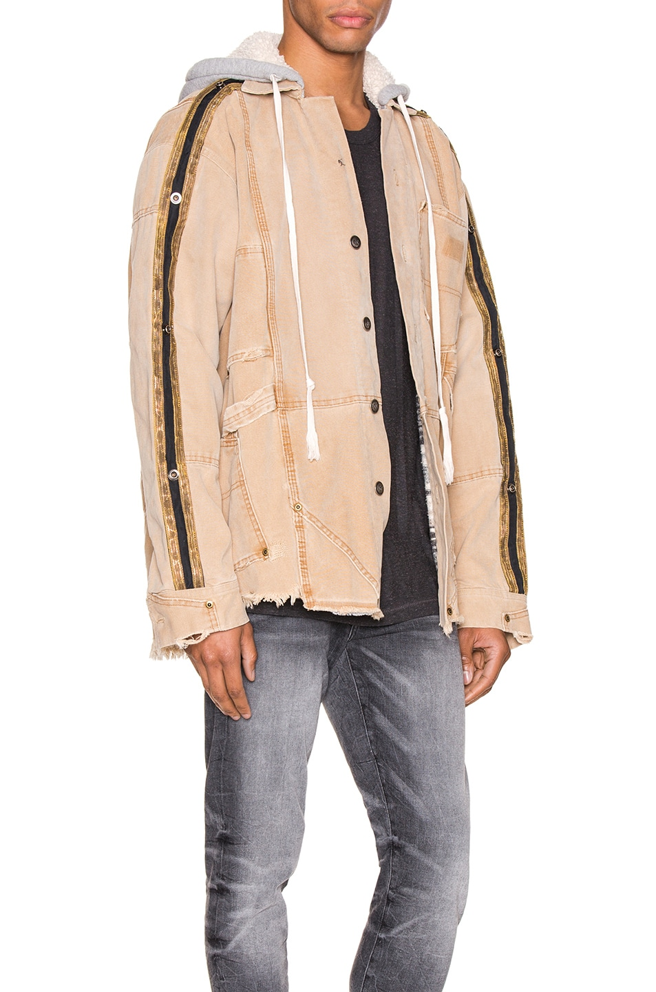 Image 3 of Greg Lauren Canvas Royal Work Jacket in Brown