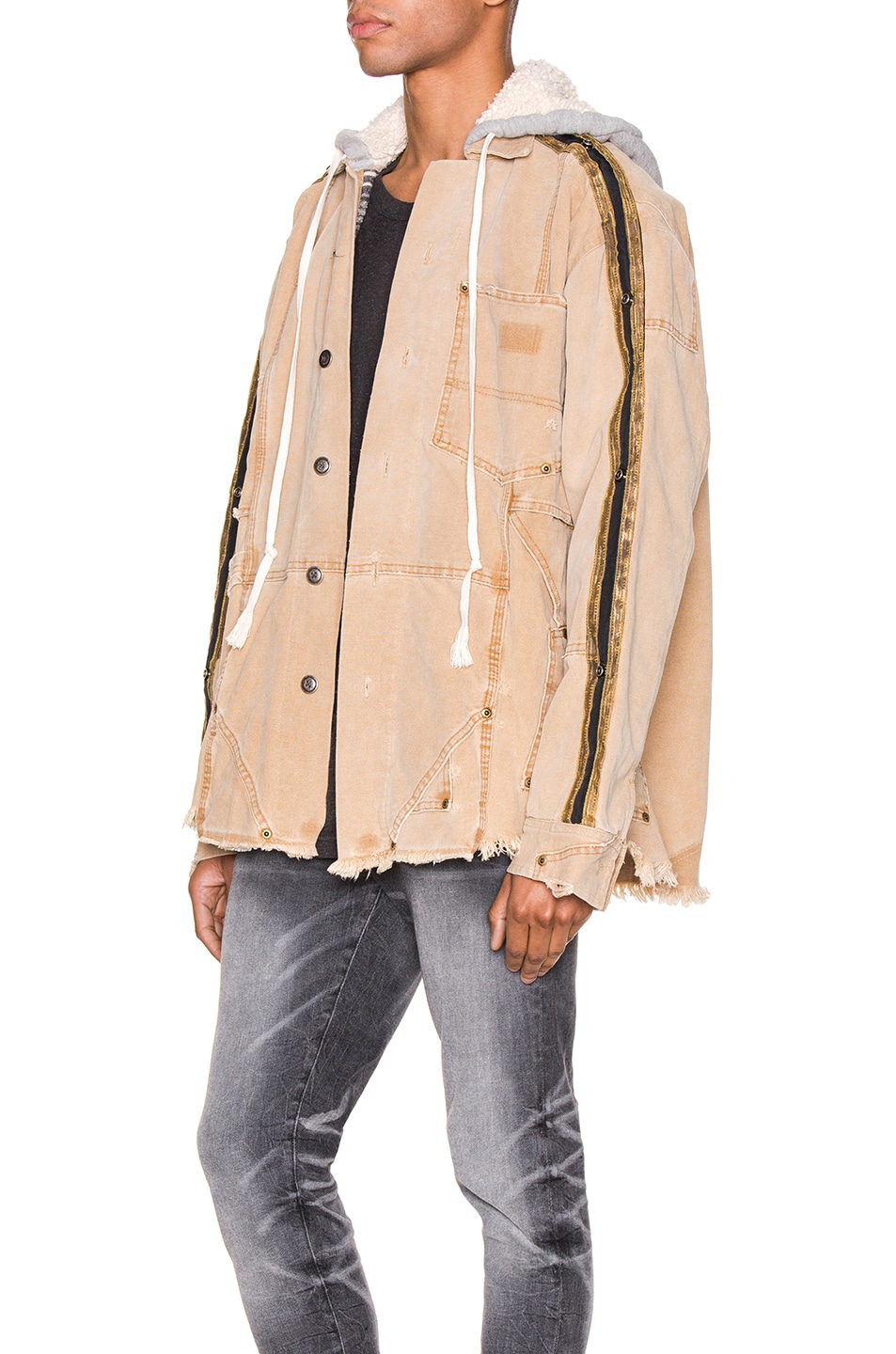 Image 4 of Greg Lauren Canvas Royal Work Jacket in Brown