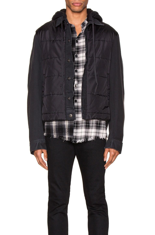 Image 2 of Greg Lauren Nylon Denim Hooded Trucker Jacket in Black