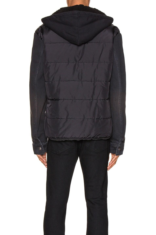 Image 4 of Greg Lauren Nylon Denim Hooded Trucker Jacket in Black