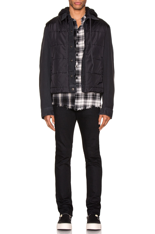 Image 5 of Greg Lauren Nylon Denim Hooded Trucker Jacket in Black