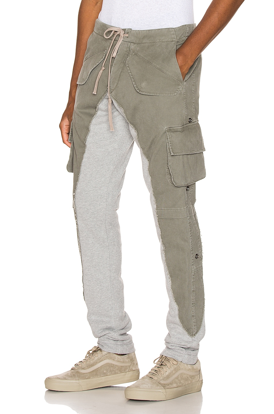 Image 1 of Greg Lauren 50/50 Army Terry Long Pant in Army