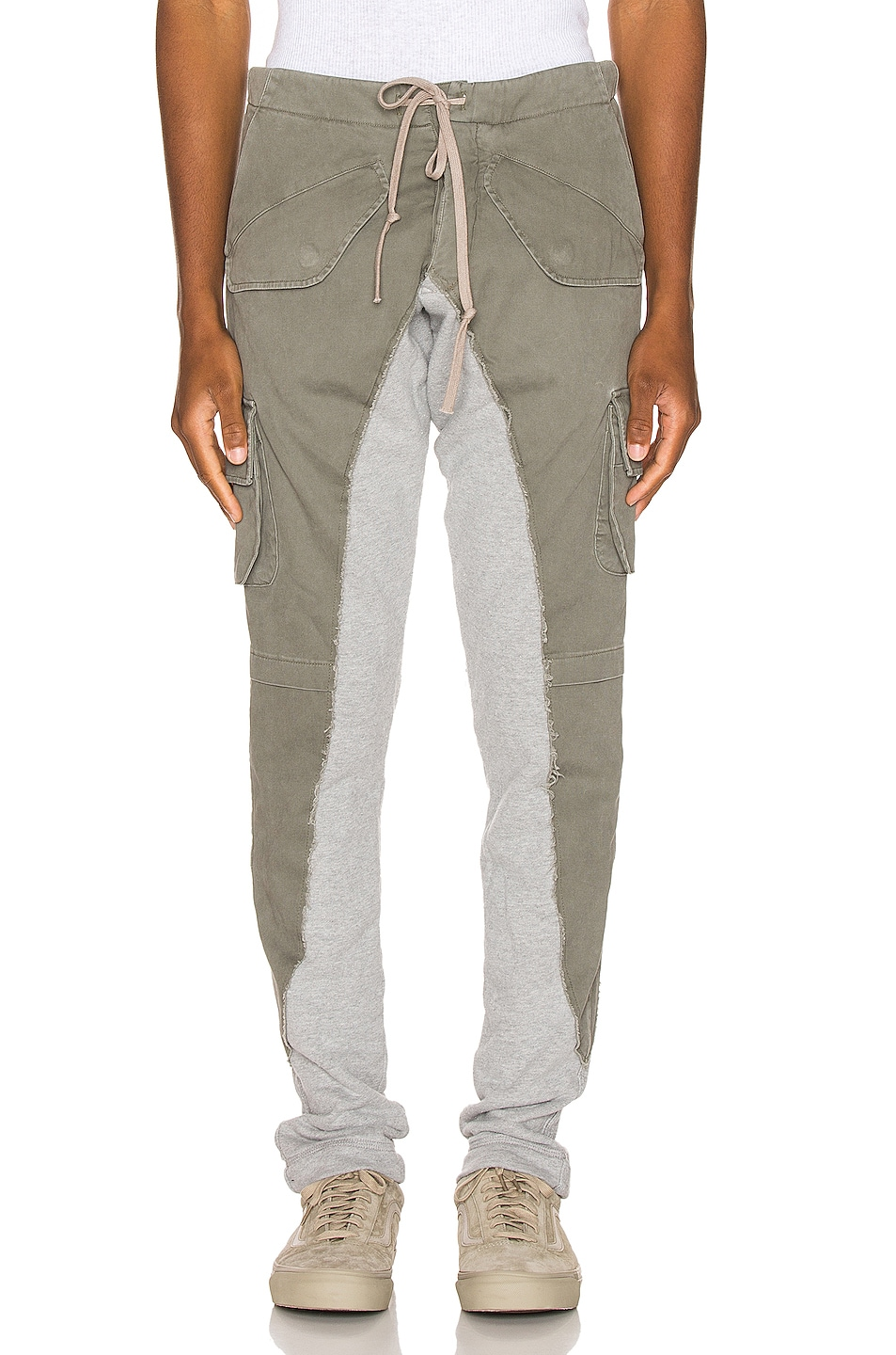 Image 2 of Greg Lauren 50/50 Army Terry Long Pant in Army