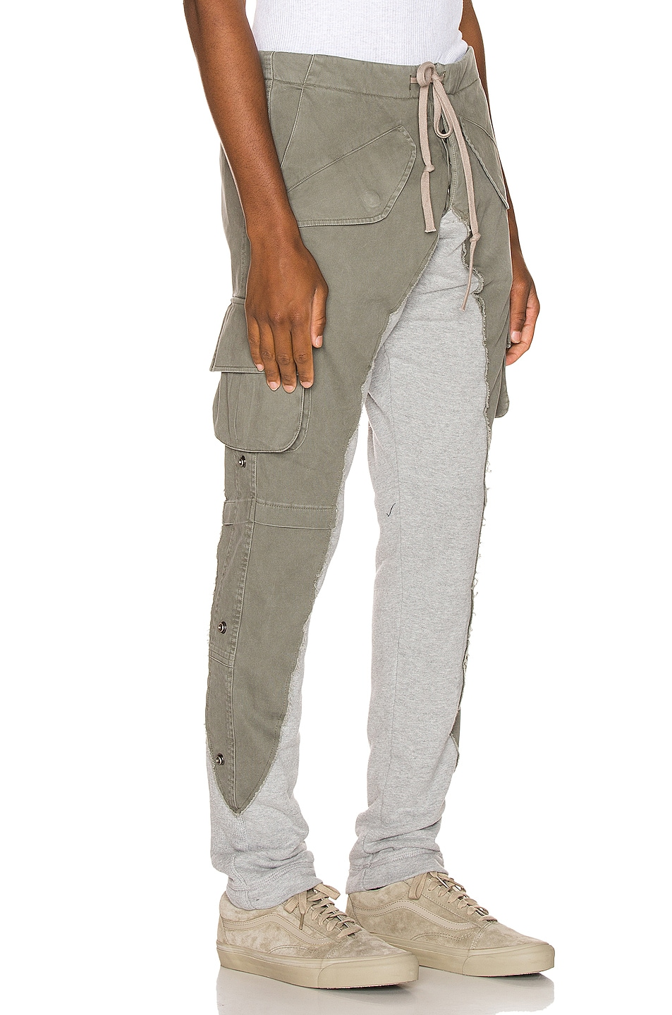 Image 3 of Greg Lauren 50/50 Army Terry Long Pant in Army