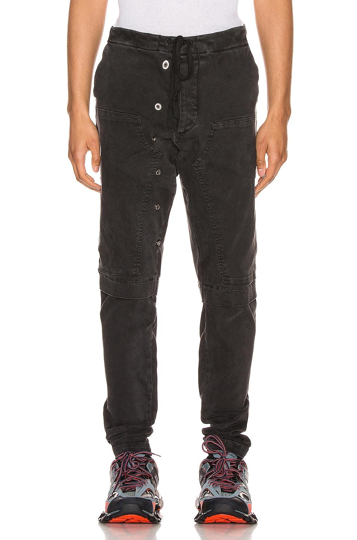 Image 1 of Greg Lauren Stretch Work Pants in Black