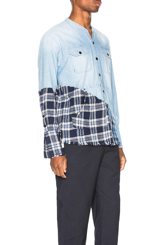 Image 2 of Greg Lauren Plaid Studio Shirt in Light Blue & Blue