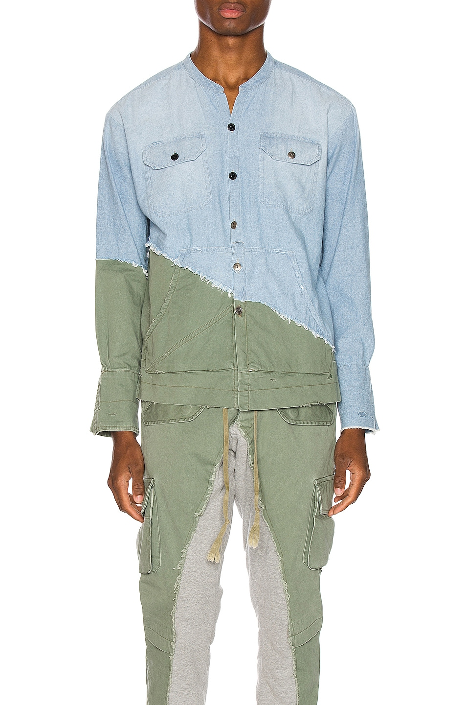 Image 1 of Greg Lauren Army Studio Shirt in Light Blue & Army