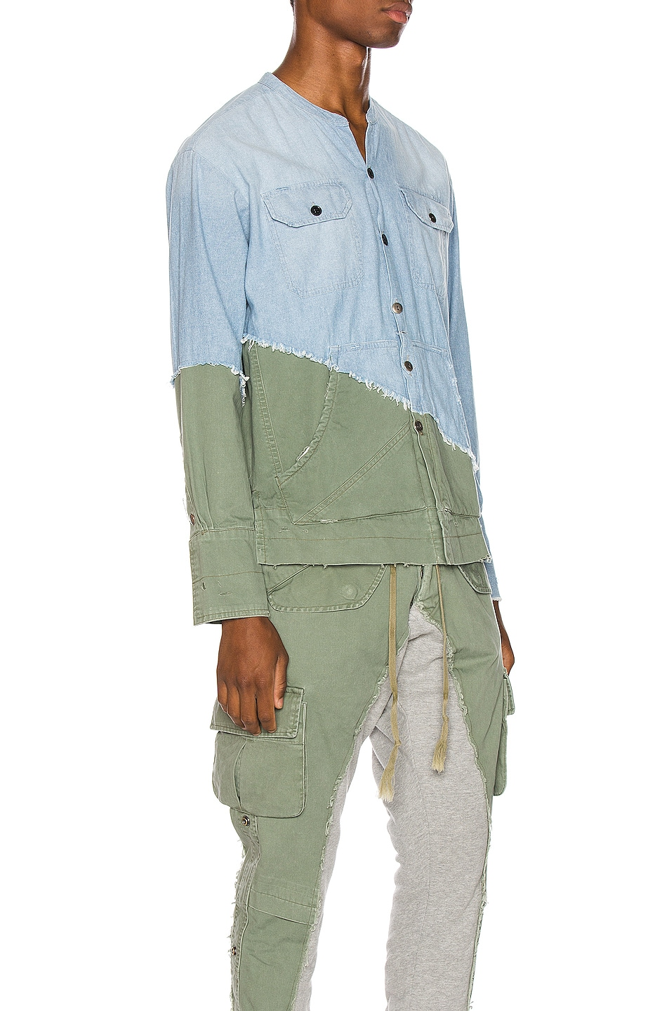 Image 2 of Greg Lauren Army Studio Shirt in Light Blue & Army