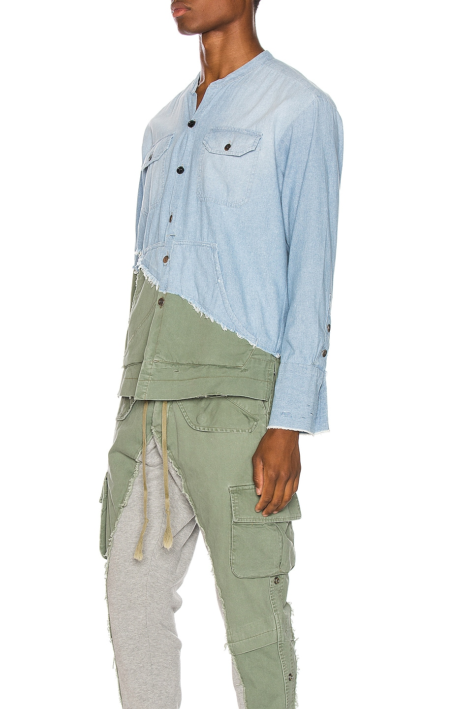 Image 3 of Greg Lauren Army Studio Shirt in Light Blue & Army