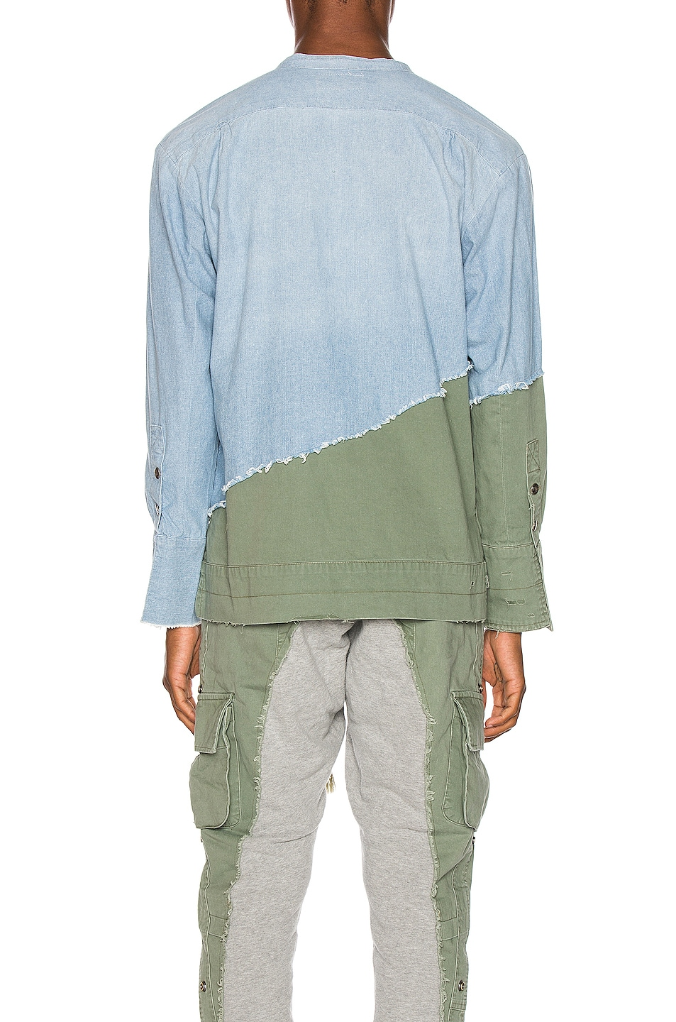 Image 4 of Greg Lauren Army Studio Shirt in Light Blue & Army