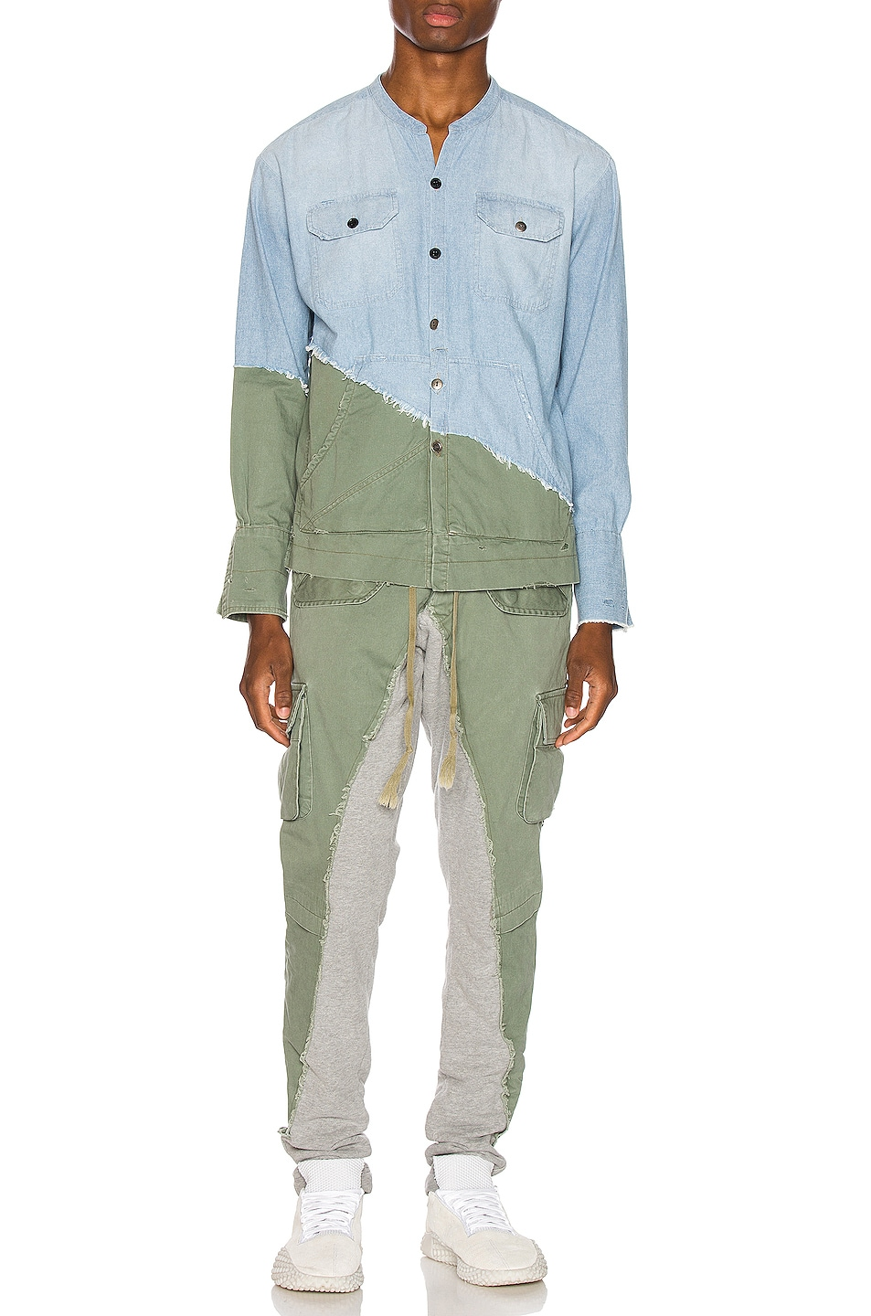 Image 5 of Greg Lauren Army Studio Shirt in Light Blue & Army