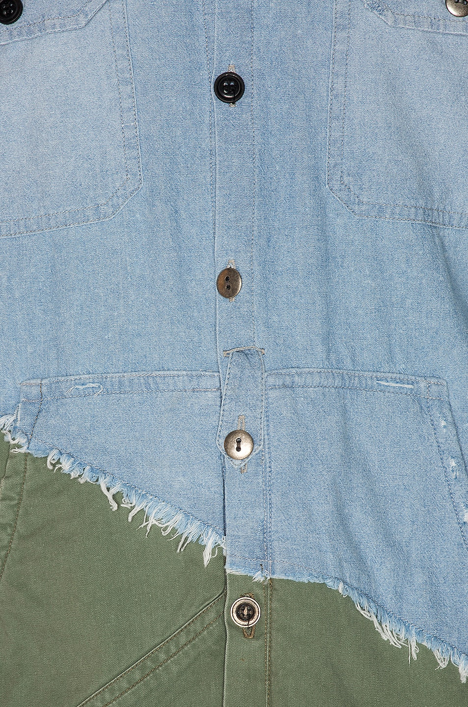 Image 6 of Greg Lauren Army Studio Shirt in Light Blue & Army