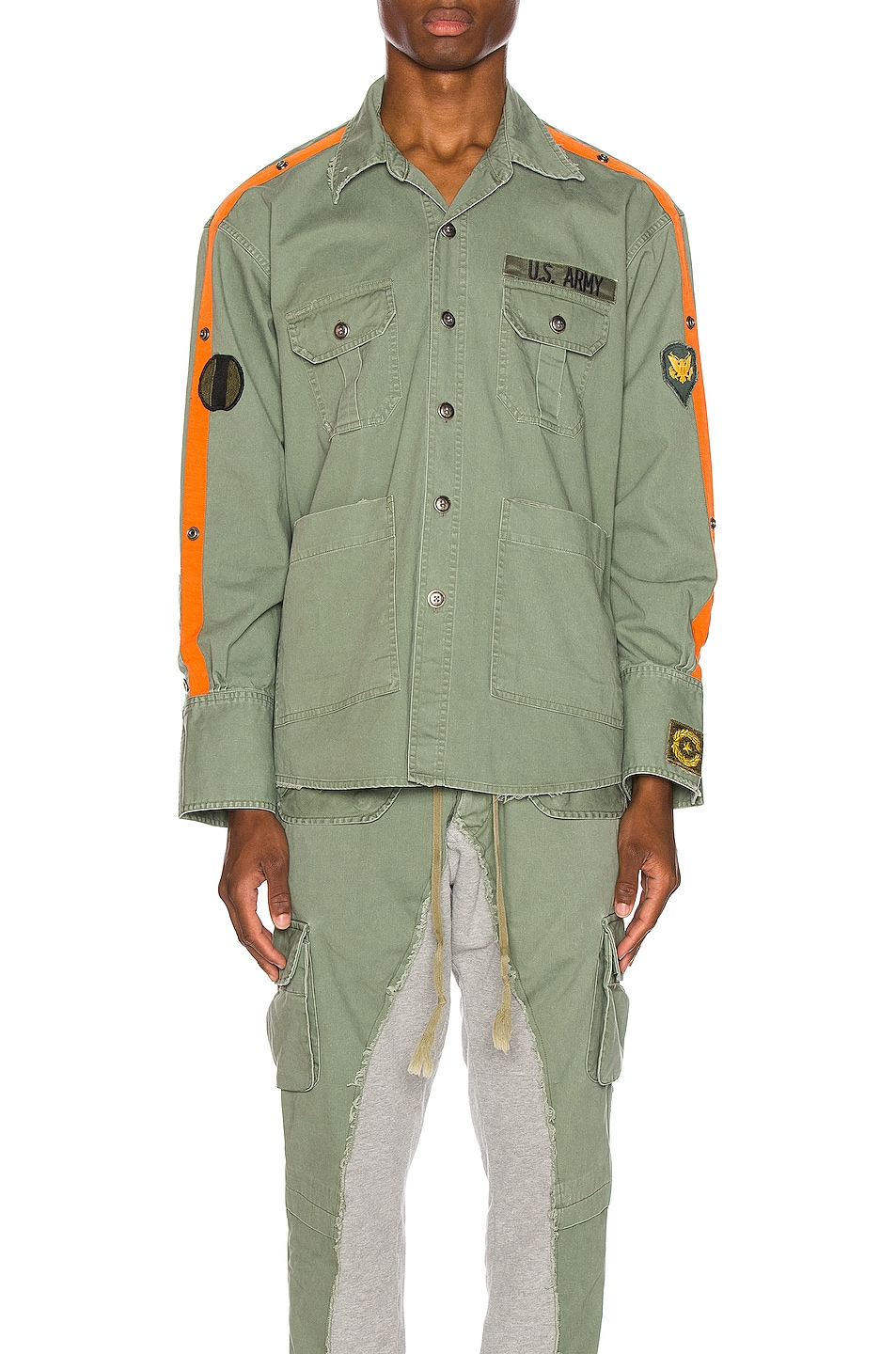 Image 1 of Greg Lauren Striped Army Shirt in Army