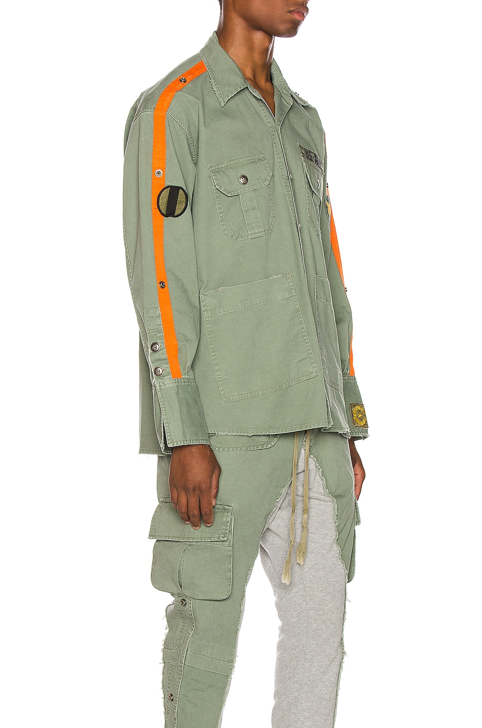 Image 2 of Greg Lauren Striped Army Shirt in Army
