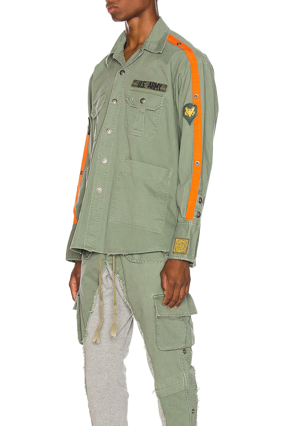 Image 3 of Greg Lauren Striped Army Shirt in Army