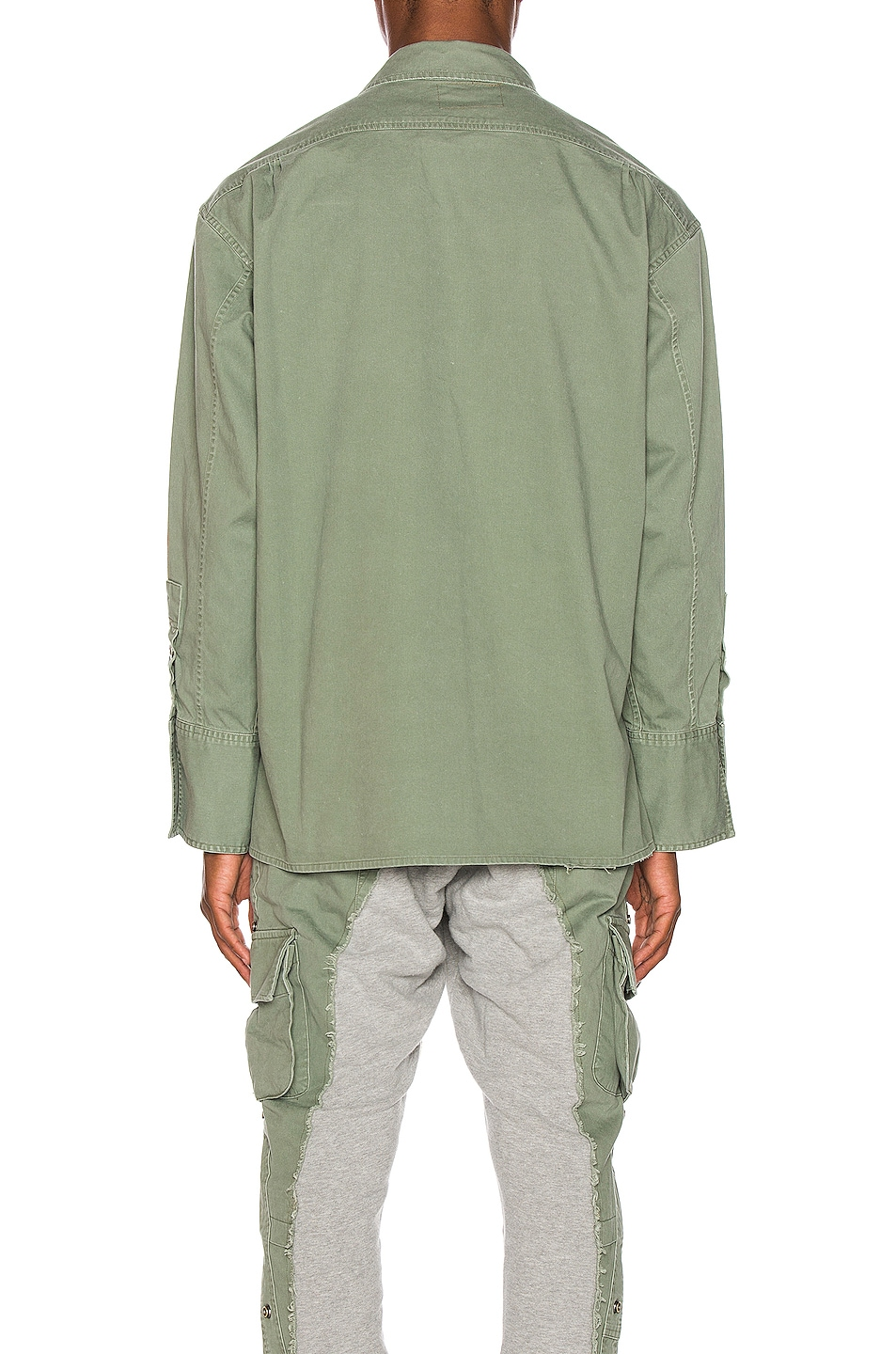 Image 4 of Greg Lauren Striped Army Shirt in Army