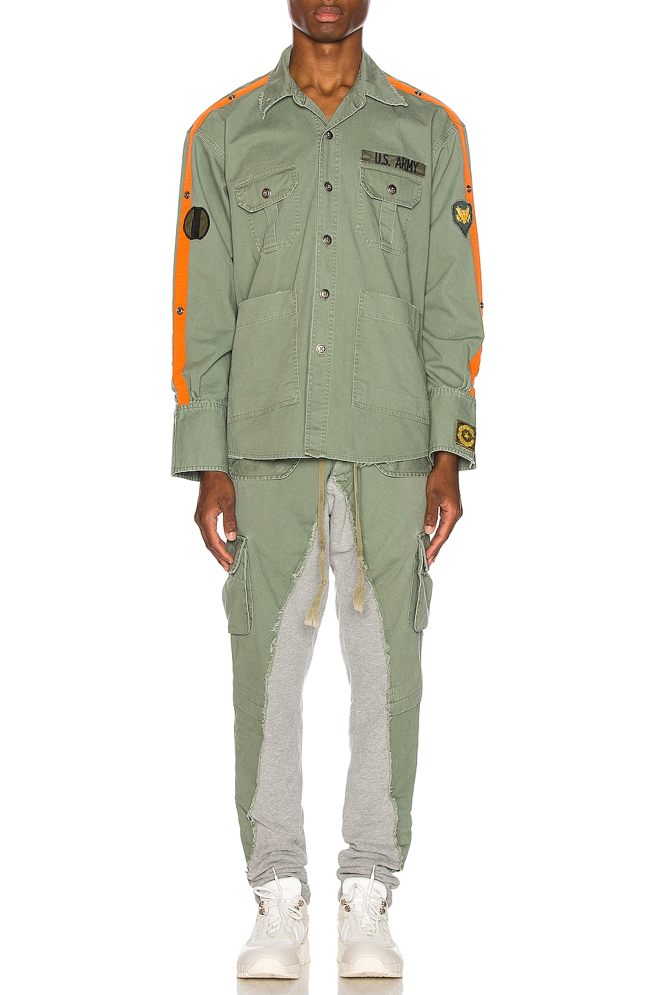 Image 5 of Greg Lauren Striped Army Shirt in Army