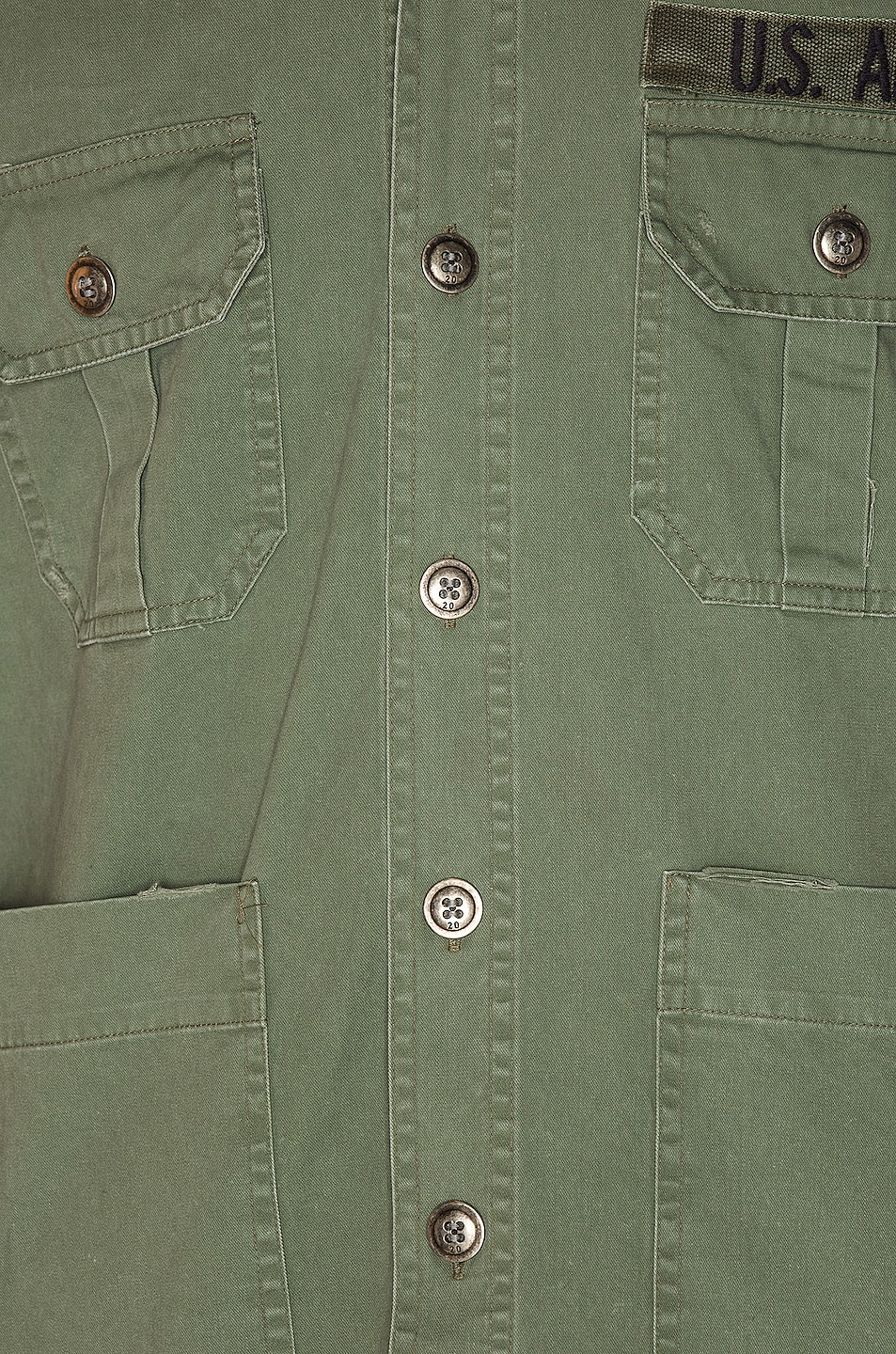 Image 6 of Greg Lauren Striped Army Shirt in Army