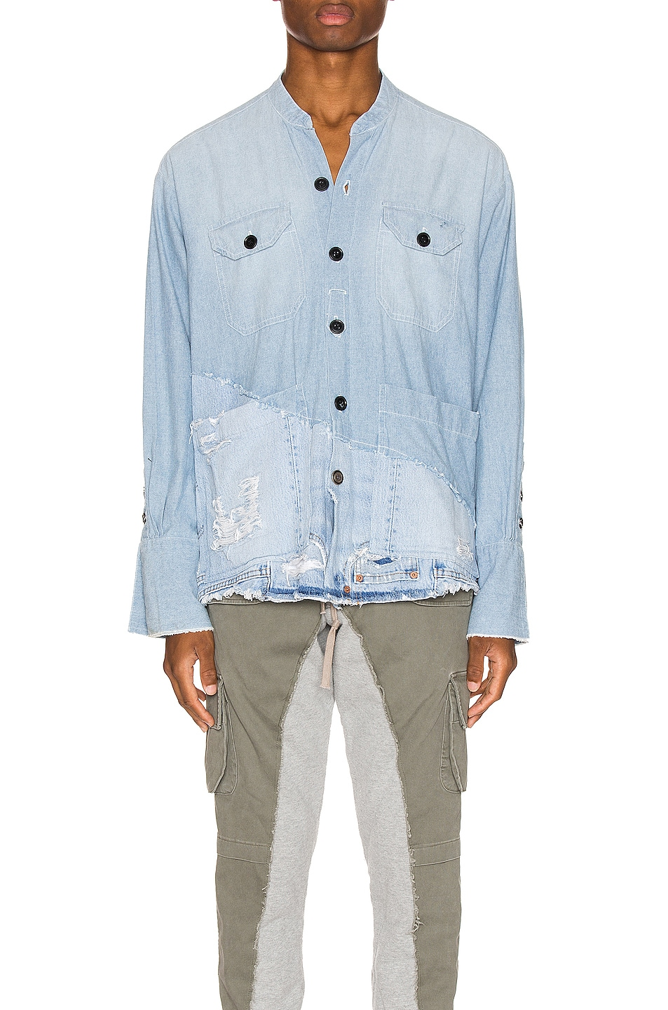 Image 1 of Greg Lauren 50/50 Chambray Denim Boxy Studio Shirt in Blue