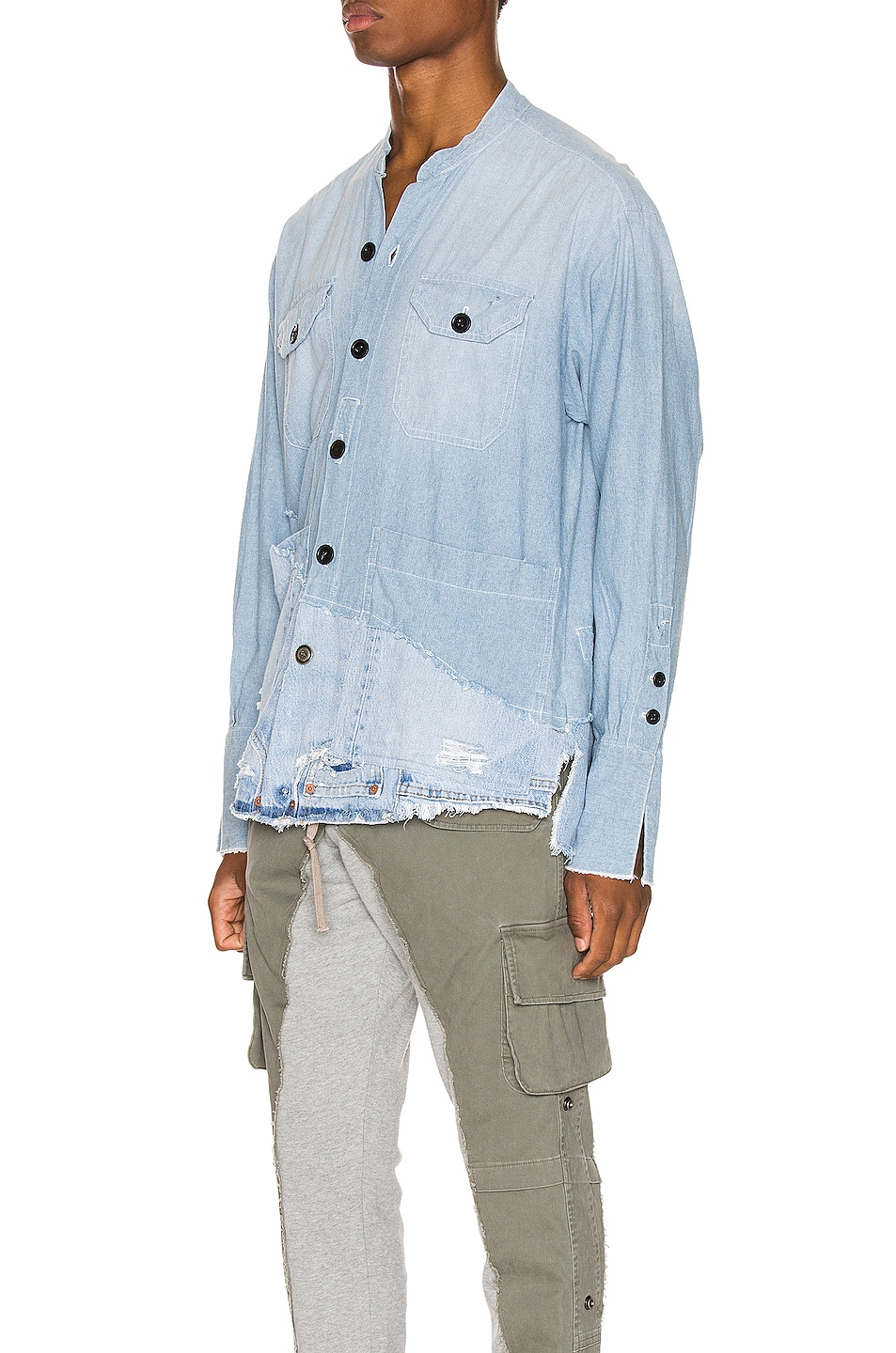 Image 3 of Greg Lauren 50/50 Chambray Denim Boxy Studio Shirt in Blue
