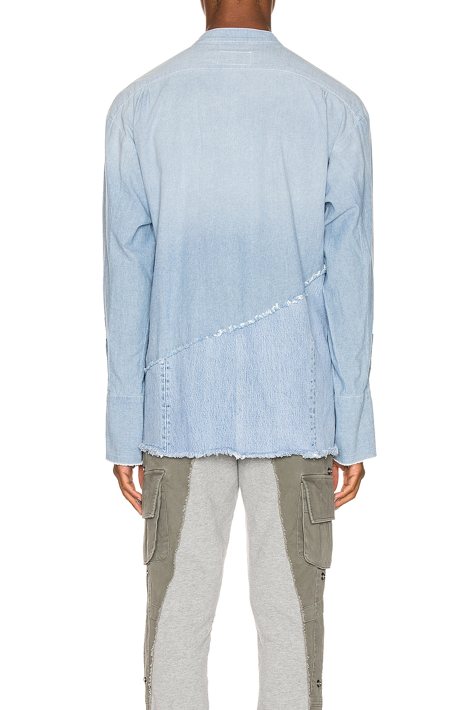 Image 4 of Greg Lauren 50/50 Chambray Denim Boxy Studio Shirt in Blue