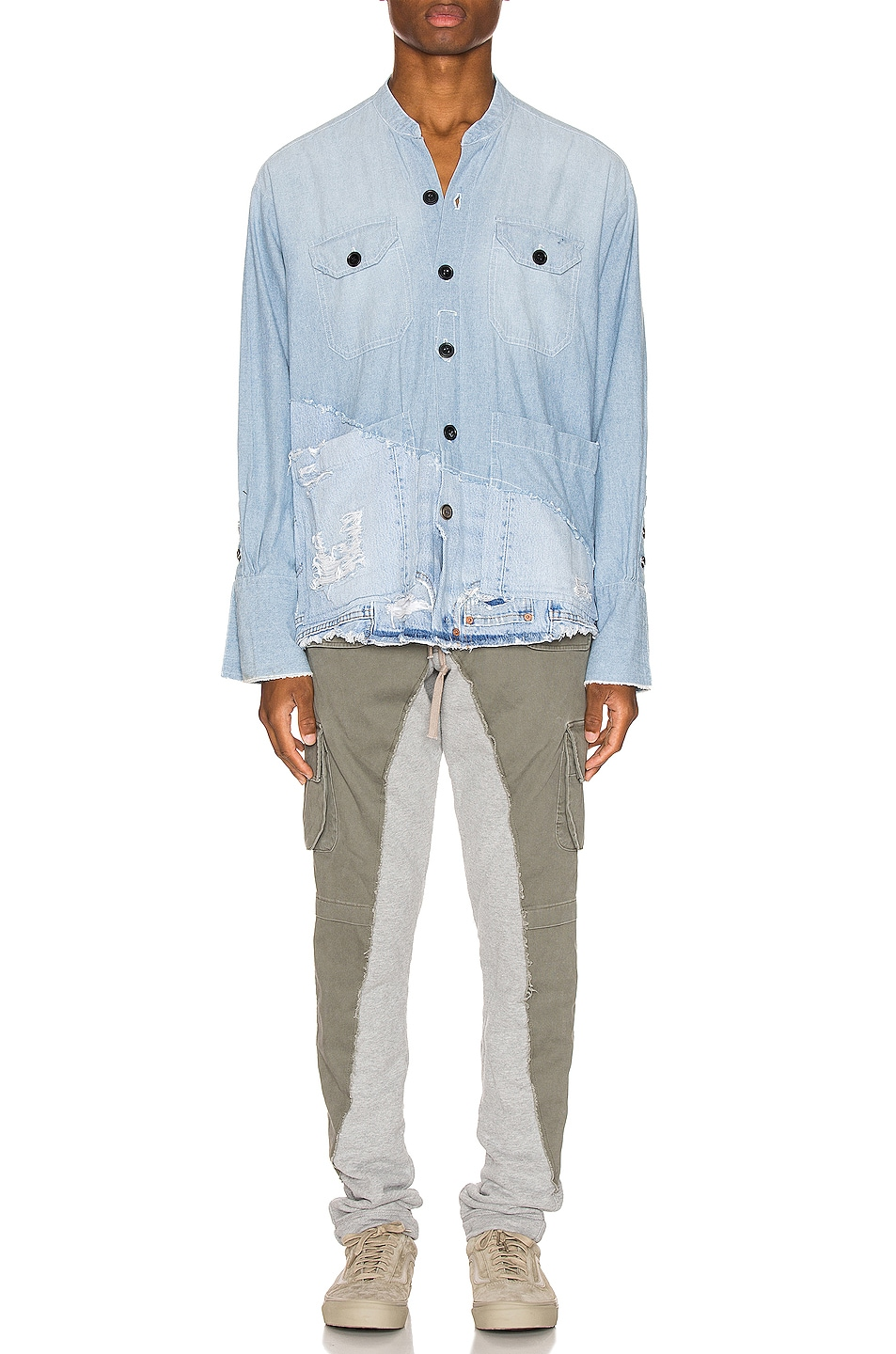 Image 5 of Greg Lauren 50/50 Chambray Denim Boxy Studio Shirt in Blue