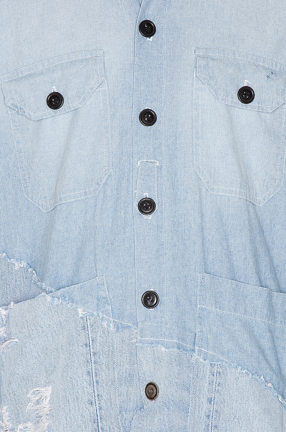 Image 6 of Greg Lauren 50/50 Chambray Denim Boxy Studio Shirt in Blue