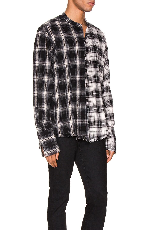 Image 2 of Greg Lauren Mixed Black Plaid Studio Shirt in Black