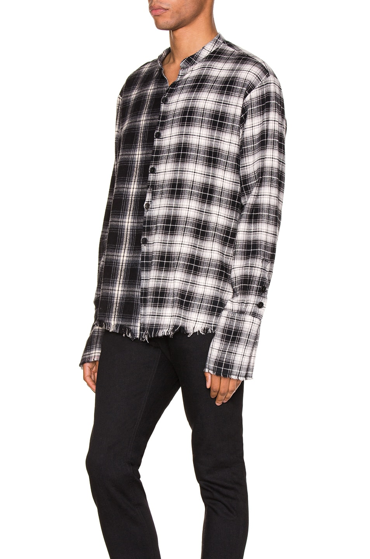 Image 3 of Greg Lauren Mixed Black Plaid Studio Shirt in Black