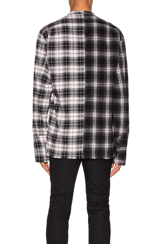 Image 4 of Greg Lauren Mixed Black Plaid Studio Shirt in Black