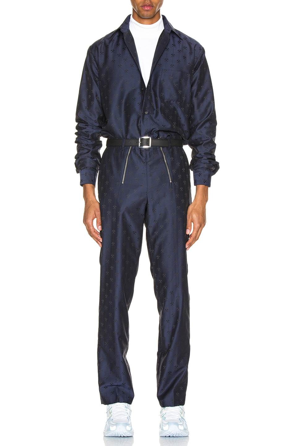 Image 4 of GmbH Talc Jacquard Trouser in Navy