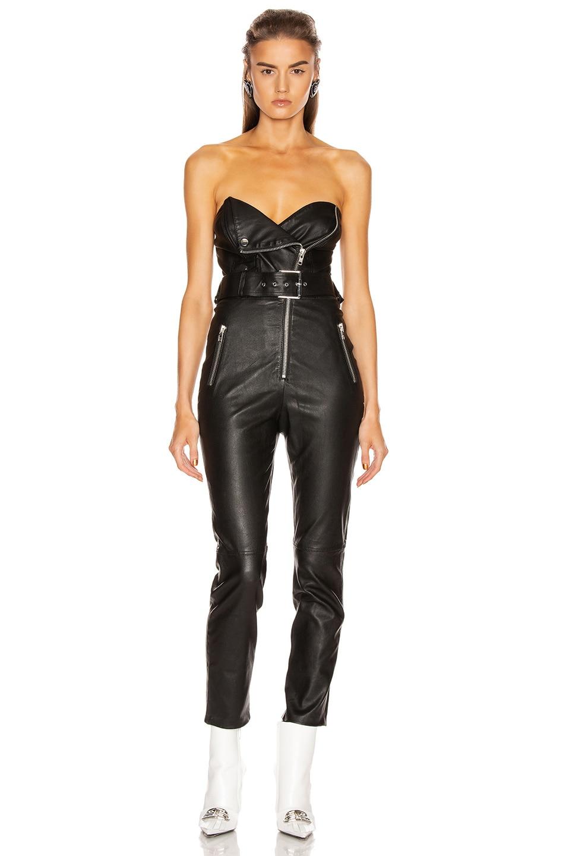 Image 1 of GRLFRND Blake Leather Moto Jumpsuit in Black