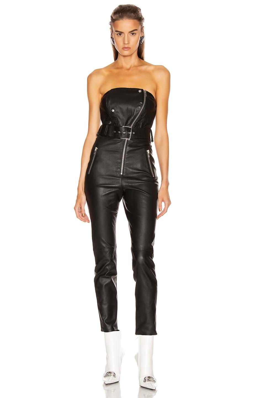 Image 2 of GRLFRND Blake Leather Moto Jumpsuit in Black
