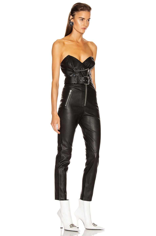 Image 3 of GRLFRND Blake Leather Moto Jumpsuit in Black