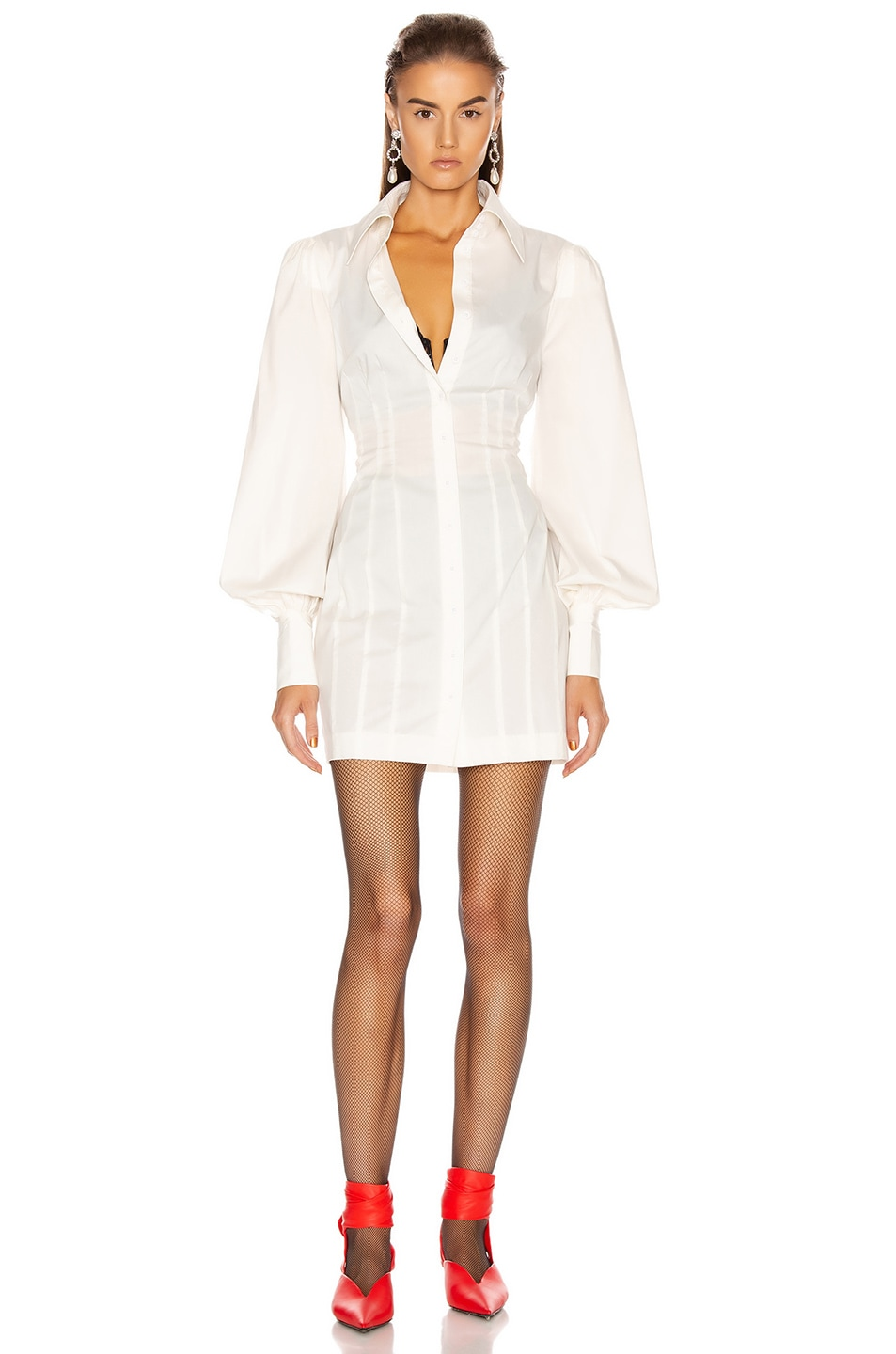 Image 2 of GRLFRND Lo Shirt Dress in White