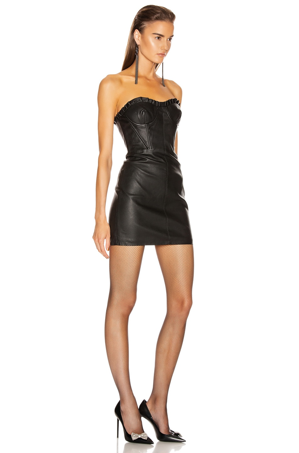 Image 2 of GRLFRND Julietta Leather Mini Dress in Black