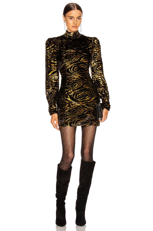 Image 1 of GRLFRND Janice Mini Dress in Black & Gold