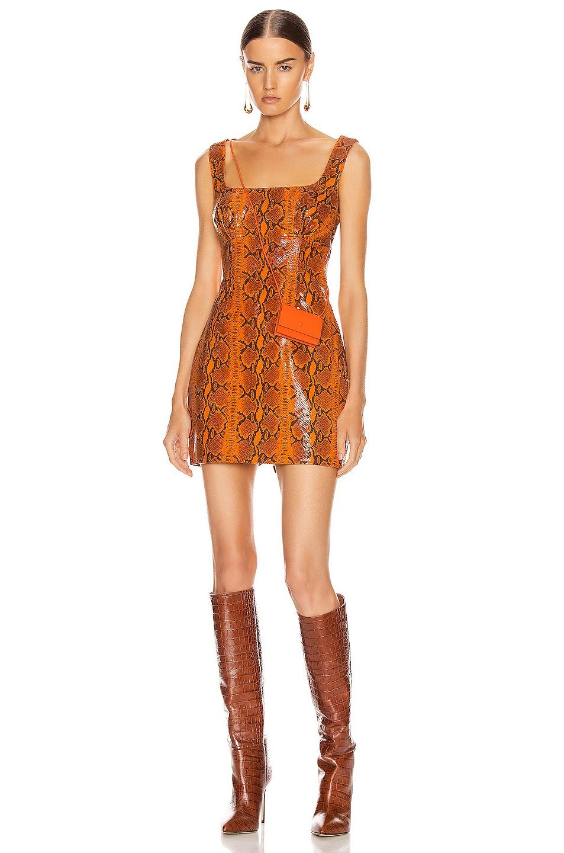 Image 1 of GRLFRND Romi Mini Dress in Orange Snake