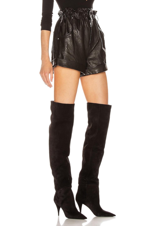 Image 2 of GRLFRND Shea Leather Shorts in Black