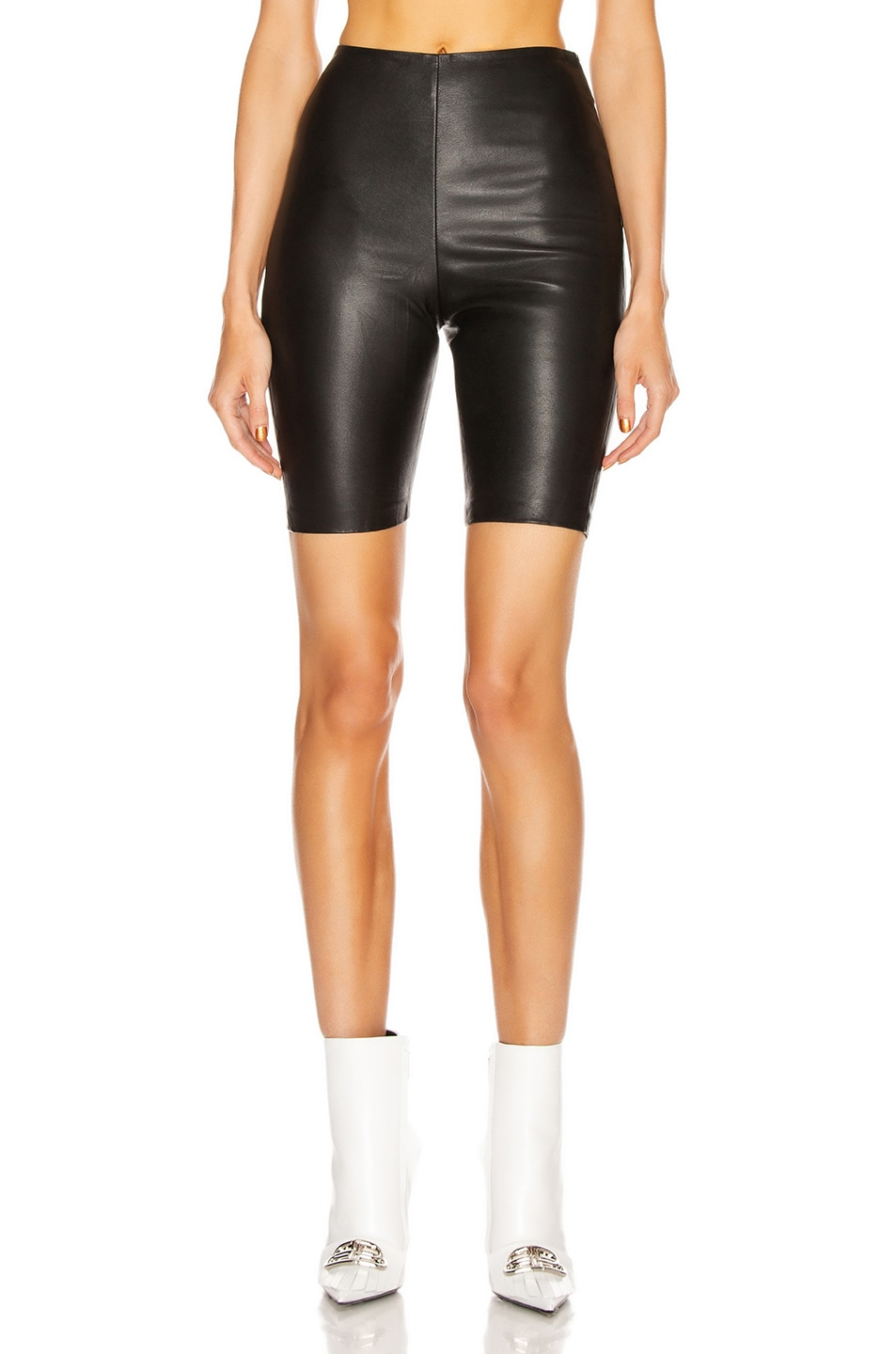 Image 1 of GRLFRND Carter Leather Bicycle Shorts in Black