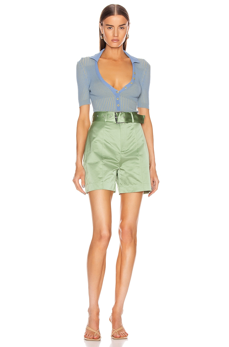 Image 4 of GRLFRND Alexei Trouser Shorts in Sage
