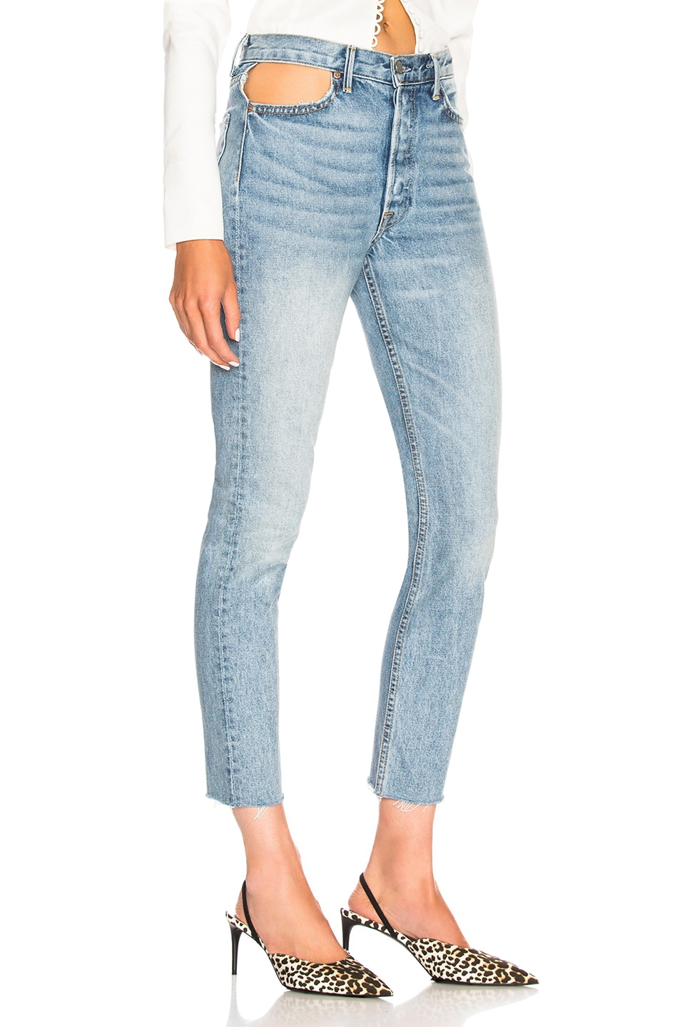 Image 2 of GRLFRND Karolina Cut Out High Rise Skinny in Zoned Out
