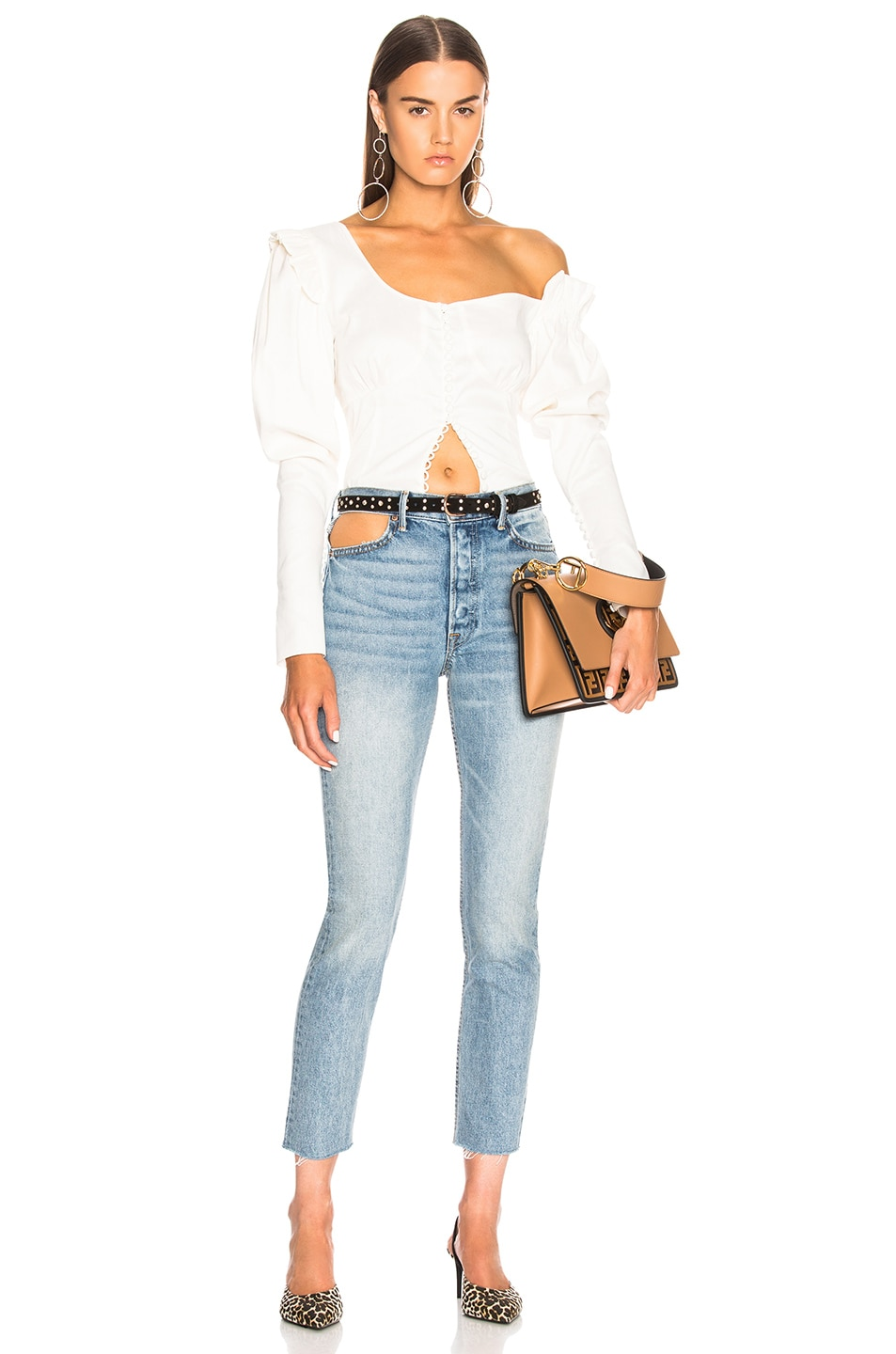 Image 5 of GRLFRND Karolina Cut Out High Rise Skinny in Zoned Out