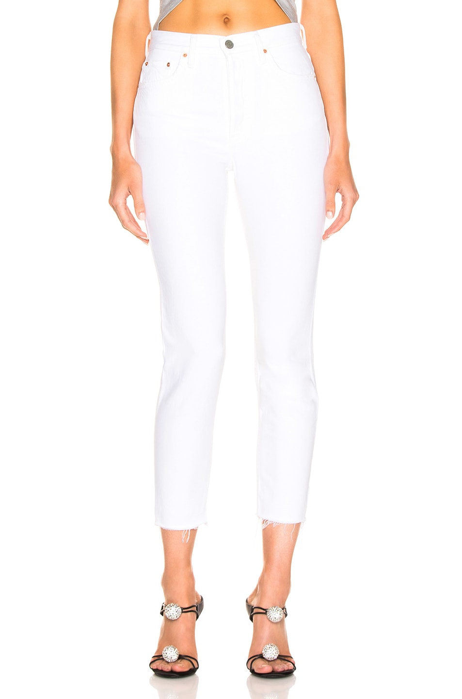Image 1 of GRLFRND Karolina High Rise Skinny Crop in White Flag