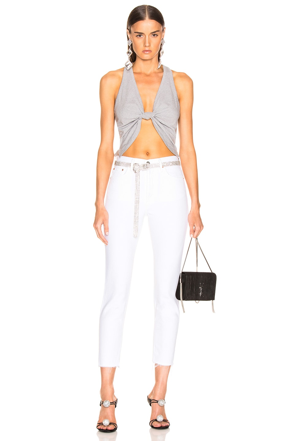 Image 4 of GRLFRND Karolina High Rise Skinny Crop in White Flag